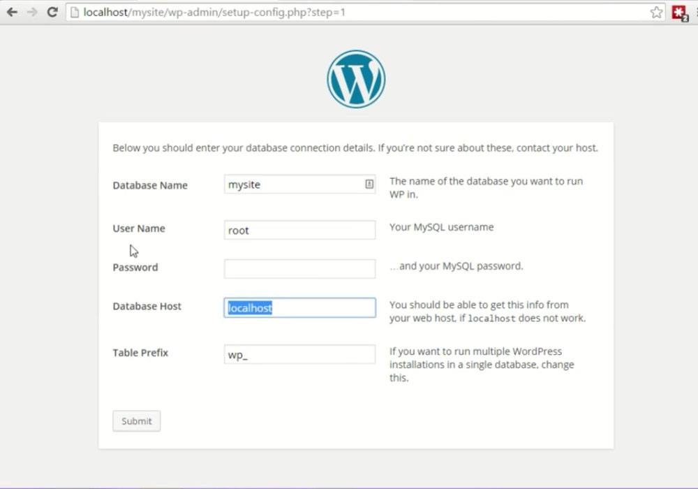 configuring wordpress with database