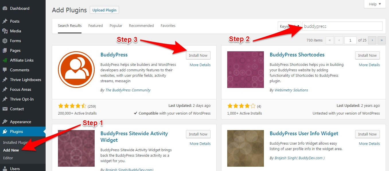search WordPress Plugin for Installion